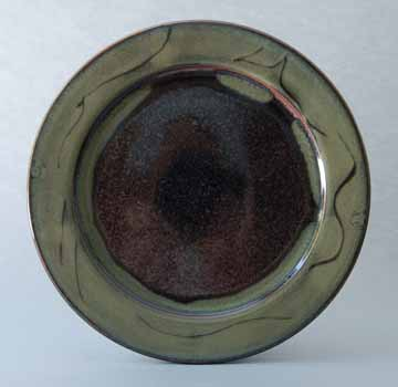 Platter, Brown/Green Glaze