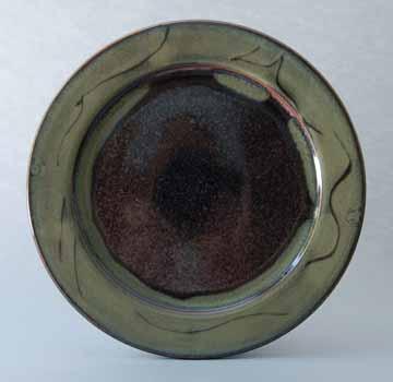 Platter, Brown/Green Glaze